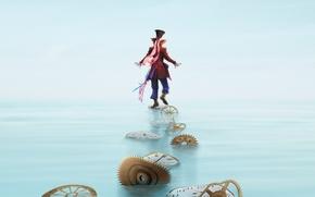 Картинка шляпа, цилиндр, постер, часы, шестеренки, Johnny Depp, Алиса в Зазеркалье, Mad Hatter, персонаж, вода, фэнтези, ...