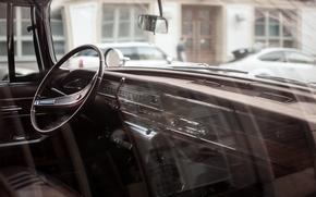 Картинка car, панель, приборы, руль, автомобиль, салон, retro, old