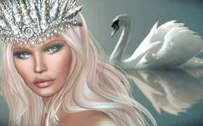 Обои взгляд, лебедь, девушка, фон, корона, волосы