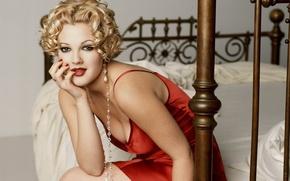 Картинка кровать, Drew Barrymore, Дрю Бэрримор