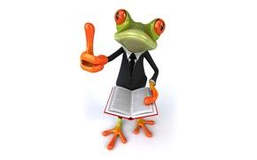 Картинка лягушка, frog, book, funny, suit