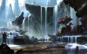 Картинка пейзаж, горы, город, река, люди, дерево, скалы, арт, водопады, Ryan Gitter