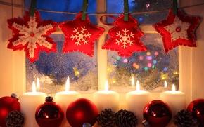 Обои merry christmas, christmas spirit, new year, window, star, snowflake