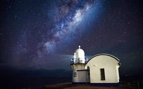 Картинка море, космос, звезды, маяк, Млечный Путь, тайны