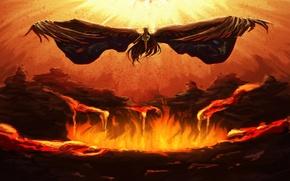 Картинка оружие, огонь, крылья, reiuji utsuho, touhou