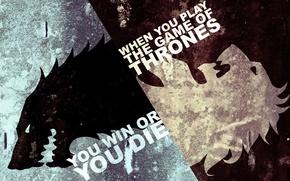 Картинка лед, белый, пламя, черный, волк, лев, сериал, Game of Thrones, Игра престолов