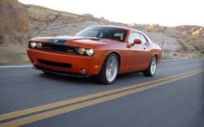 Обои dodge, challenger, srt8, авто, оранжевый, передок