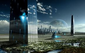 Картинка clouds, birds, planets, towers, mirrors