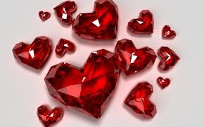 Картинка стекло, украшения, красный, камни, праздник, сердца, сердечки, день святого валентина, день всех влюбленных, алмазы, обои …