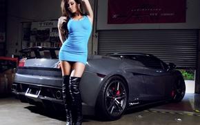 Картинка авто, девушка, Девушки, гараж, Lamborghini, платье