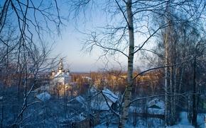 Картинка зима, снег, деревья, вечер, храм, городок, купола