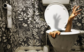 Картинка бумага, рука, унитаз, в туалете, потерялся, вантуз