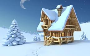 Картинка минимализм, домики, настроения, снег, арт, зима, дома, луна, месяц, настроение, ночь, небо, следы