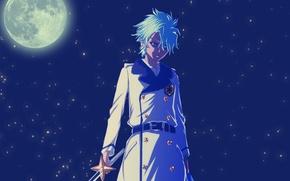 Картинка ночь, луна, меч, аниме, zombie, парень, Bleach, полнолуние, hitsugaya toshiro