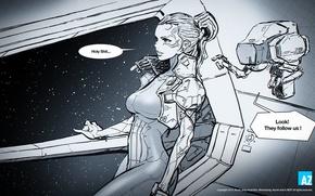 Картинка space, girl, robot, comics, digital art, jang wook kim