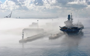 Картинка fog, helicopter, aircraft carrier, Italian navy, Cavour, Marina Militare