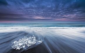 Картинка небо, облака, лёд, вечер, выдержка, Исландия