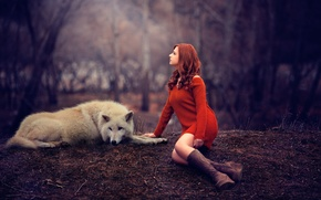 Картинка девушка, волк, ножки, рыжеволосая, свитер, Melis