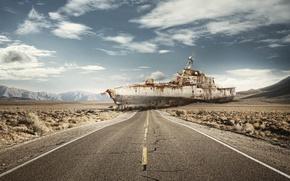 Картинка дорога, корабль, остов, суша, War Game, Leo Caillard