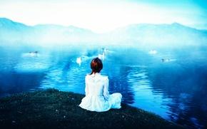 Обои девушка, птицы, озеро, Ronny Garcia, The lake of the geese