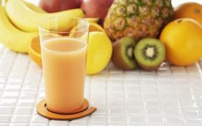 Обои натуральный, киви, стакан, сок, яблоко, фрукты, еда, ананас, апельсин, банан