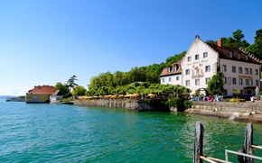 Картинка вода, деревья, природа, город, озеро, дом, река, германия, меерсбург