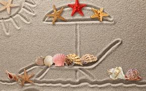 Обои seashells, ракушки, песок, sand, рисунок, texture, starfish, drawing