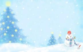 Картинка зима, снег, огни, новый год, шарф, ведро, снеговик, ёлки, лопатка, snowman