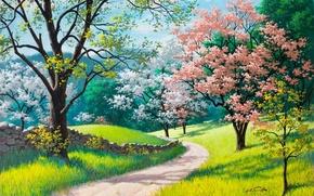 Картинка дорога, зеленая трава, весна, живопись, Arthur Saron Sarnoff, каменный забор, Spring Blossoms, деревья в цвету