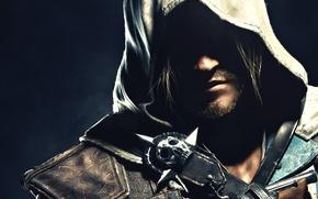 Картинка лицо, тень, капюшон, Эдвард Кенуэй, Assassin's Creed IV: Black Flag, Edward Kenway