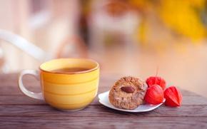 Картинка осень, стол, чай, печенье, чашка, желтая, выпечка, миндаль