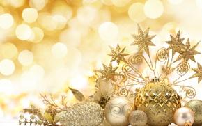 Картинка звезды, шарики, украшения, шары, узоры, игрушки, блестки, Новый Год, Рождество, декорации, Christmas, шишки, золотые, праздники, ...