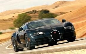 Картинка дорога, авто, скорость, Bugatti Veyron, передок, Super Sport, 16.4