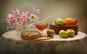 Картинка яблоки, мед, тыква, космея, бублик