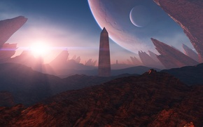 Картинка солнце, свет, скалы, планета, обелиск