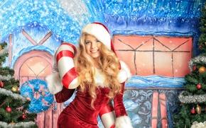 Картинка девушка, люди, праздник, новый год, снегурочка