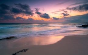 Картинка песок, море, пляж, небо, вода, облака, пейзаж, природа, река, фон, океан, widescreen, обои, wallpaper, sea, …