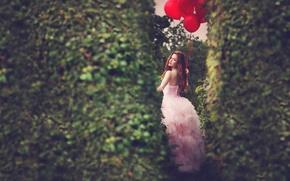 Картинка девушка, шарики, платье, рыжеволосая