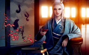 Обои комната, ширма, ветка, азия, арт, журавли, кимоно, цветок, окна, рисунок, девушка, mario wibisono, пиала