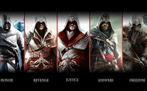 Картинка Assassins creed, эцио, коннор, альтаир, ubisoft, анимус, убийца
