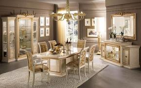 Картинка дизайн, стол, стулья, интерьер, роскошь, гостиная