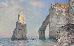 Картинка картина, морской пейзаж, Клод Моне, Скала Игла и Порт дАваль