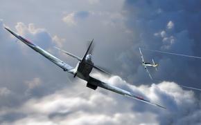 Картинка авиация, графика, арт, Spitfire, bf-109, emil, man and machine