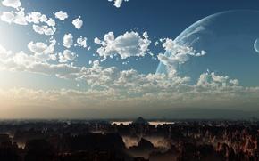 Обои пейзаж, земля, обои, планета, пирамида, wallpapers, Рендеринг