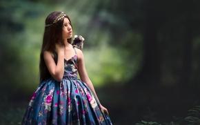 Картинка фон, платье, девочка, обезьянка