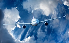 Картинка небо, облака, полет, самолет, красиво