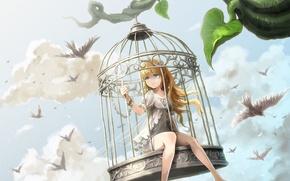 Картинка небо, девушка, облака, птицы, крылья, клетка, аниме, арт, цепь, ume, illegal bible
