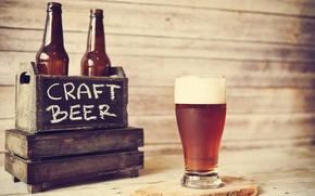 Картинка glass, wood, beer, bottles, beer crate