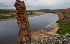 Картинка небо, скала, озеро, река, камни, люди, берег, лодка, Россия, север, Таймыр