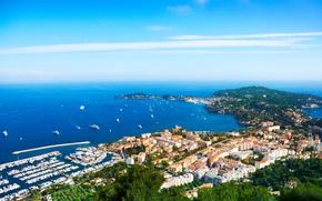 Картинка вид сверху, Франция, дома, побережье, море, лодки, катера, причал, Nice, небо, горизонт